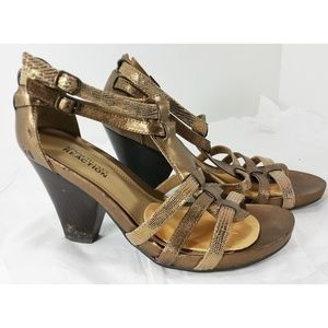 Kenneth Cole Bronze Leather Heels